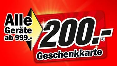 Media Markt Geschenkkarte 200,- Euro