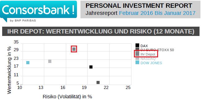 Mein Personal Investment Report für den Zeitraum Februar 2016 bis Januar 2017