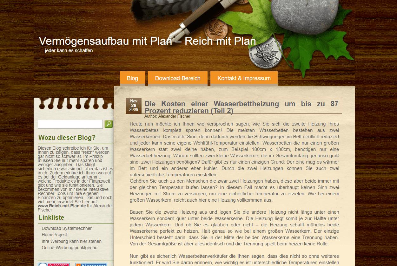 Alex Fischer launchte 2009 Reich-mit-Plan.de