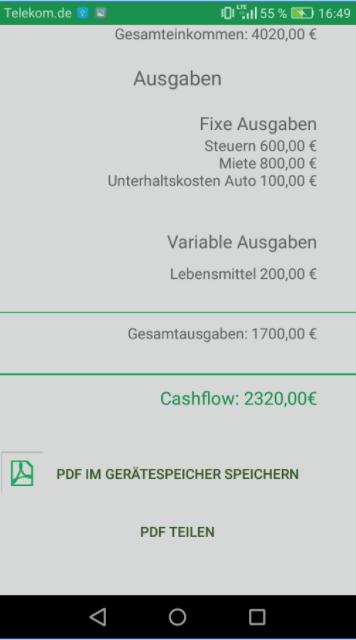 Screenshot Cashflow App