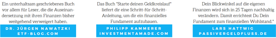 Dr. Jürgen Nawatzki von ETF-Blog.com, Philipp Kammerer von InvestmentAmade.de und Lars Hattwig von PassiverGeldfluss.de